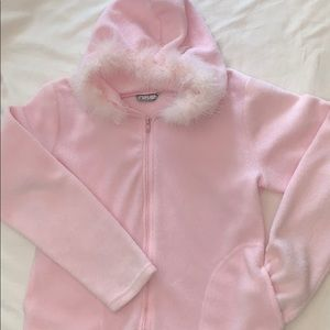 Pink Feather Hood Zip Up